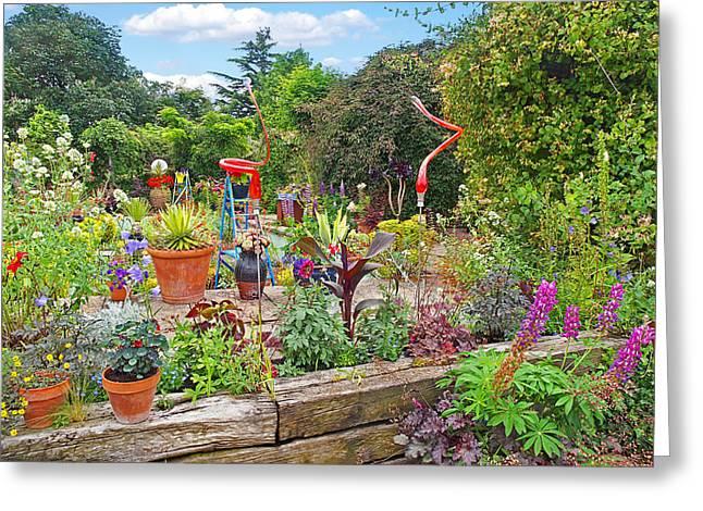 Garden Scene Greeting Cards - Kaleidoscope Garden Greeting Card by Gill Billington
