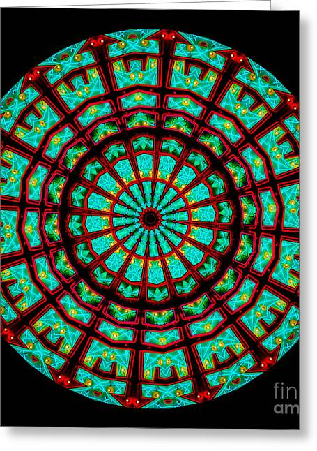 Patterned Greeting Cards - Kaleidoscope of a Neon Sign Greeting Card by Amy Cicconi