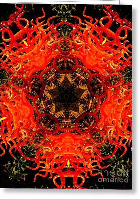 Flaming Greeting Cards - Kaleidoscope of Blown Glass Greeting Card by Amy Cicconi