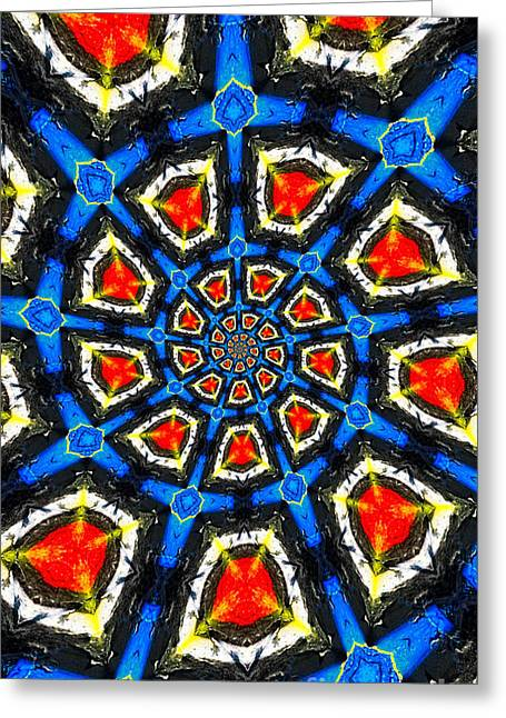 Recently Sold -  - Patterned Greeting Cards - Kaleidoscope of Primary Colors Greeting Card by Amy Cicconi