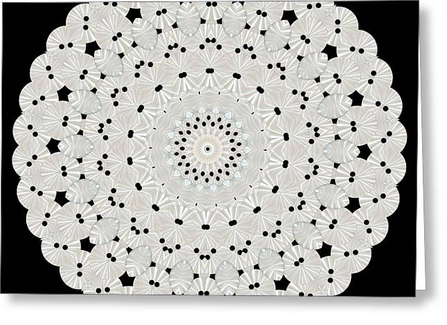 Becky Digital Greeting Cards - Kaleidoscope of White Buttons Greeting Card by Becky Hayes