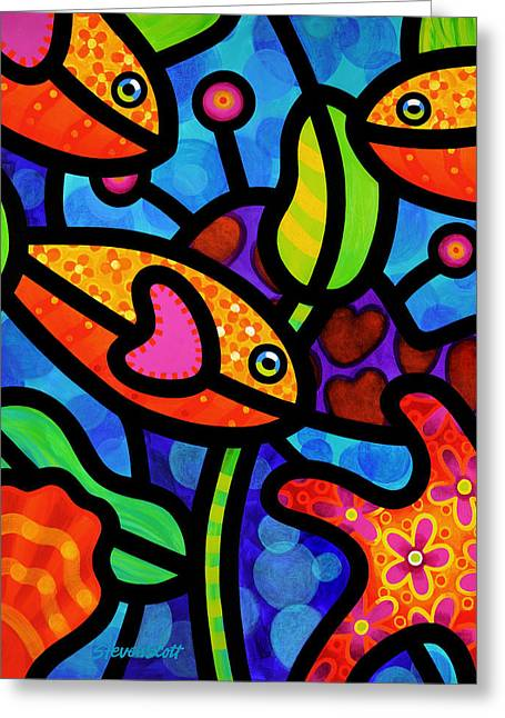 Coral Reef Greeting Cards - Kaleidoscope Reef Greeting Card by Steven Scott