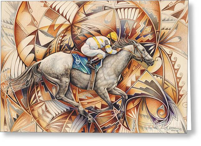 Jockeys Greeting Cards - Kaleidoscope Rider Greeting Card by Ricardo Chavez-Mendez