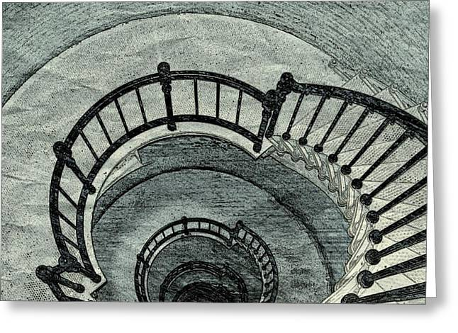 Spiral Staircase Mixed Media Greeting Cards - Kaleidoscope Staircase Greeting Card by Pamela Blayney