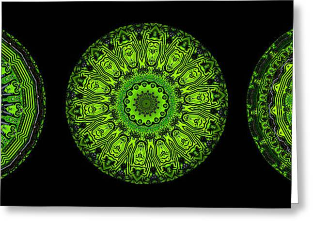 Kaleidoscope Triptych Of Glowing Circuit Boards Greeting Card by Amy Cicconi