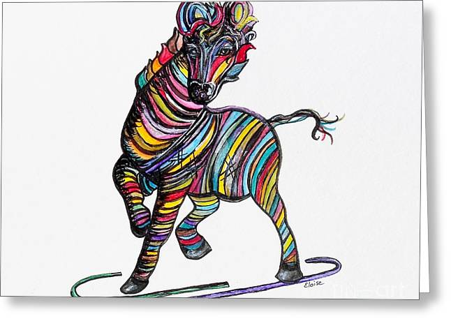 Kaleidoscope Zebra -- Baby Strut Your Stuff  Greeting Card by Eloise Schneider