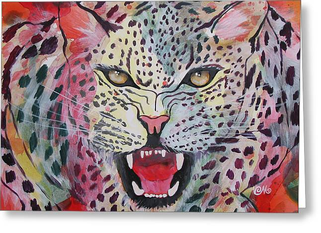 Growling Paintings Greeting Cards - Kaleidoscopic Growl Greeting Card by Charlene Maguire