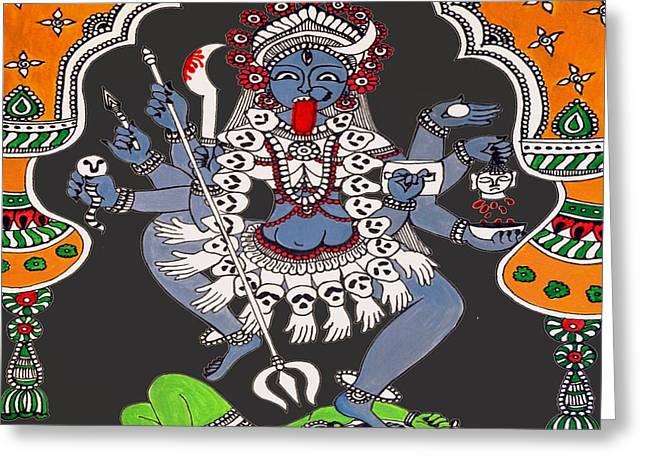 Parvathi Greeting Cards - Kali Maa Greeting Card by Sketchii Studio