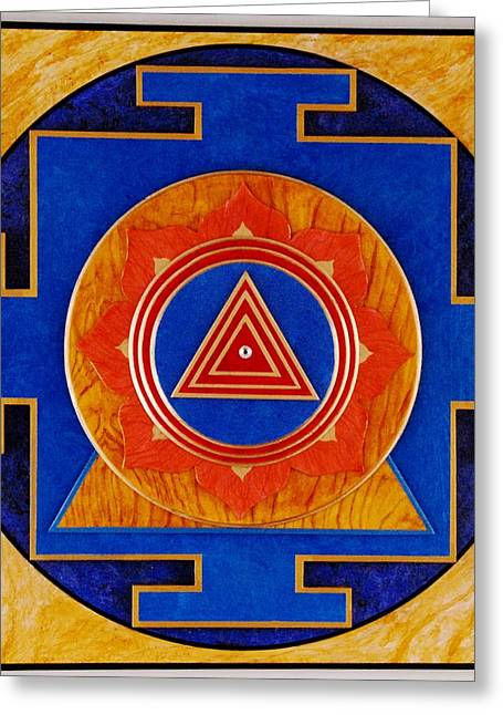 Sacred Sculptures Greeting Cards - KALI SACRED 3D HIGH RELIEF ARTISTICALLY CRAFTED WOODEN YANTRA    23in x 23in Greeting Card by Peter Clemens