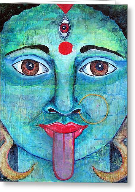 Hindu Goddess Mixed Media Greeting Cards - Kali Greeting Card by Shelley Bredeson