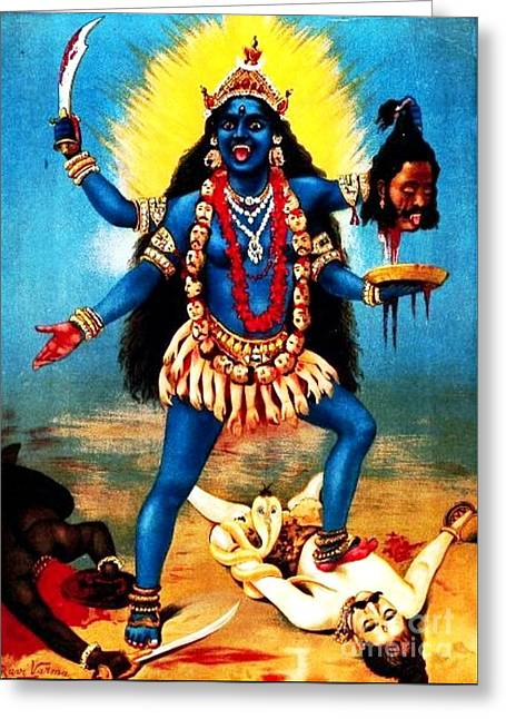 Recently Sold -  - 18th Century Greeting Cards - Kali - Trampling Shiva Greeting Card by Pg Reproductions