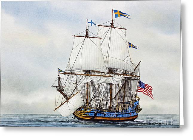 Artist James Williamson Maritime Print Greeting Cards - Kalmar Nyckel Greeting Card by James Williamson