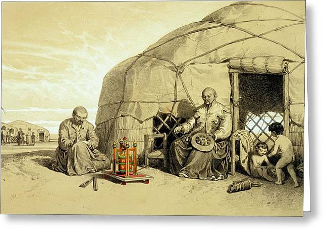 Wheel Drawings Greeting Cards - Kalmuks With A Prayer Wheel, Siberia Greeting Card by Francois Fortune Antoine Ferogio