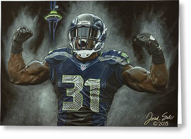 Football Pastels Greeting Cards - Kam Chancellor Seattle Seahawks Greeting Card by Jordan Spector