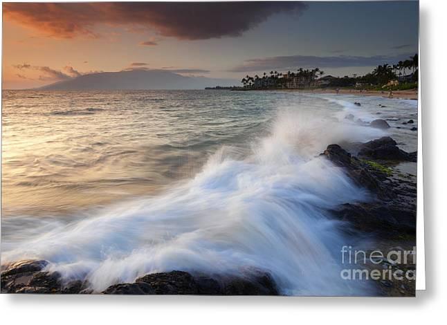 ; Maui Greeting Cards - Kamaole Beach Dusk Greeting Card by Mike  Dawson