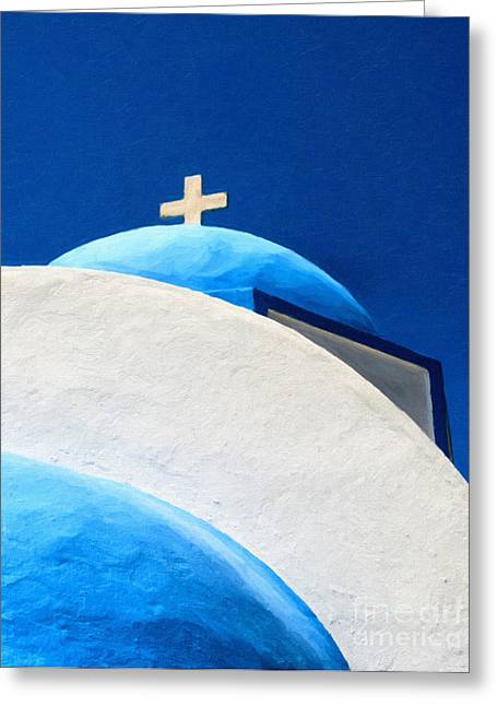 Mediterranean Landscape Digital Art Greeting Cards - Kamari Church Painting Greeting Card by Antony McAulay