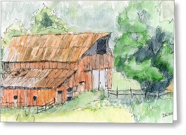 Rust Drawings Greeting Cards - Kamas Barn Greeting Card by David King