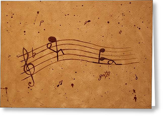 With Love Greeting Cards - Kamasutra abstract Music 2 coffee painting Greeting Card by Georgeta  Blanaru