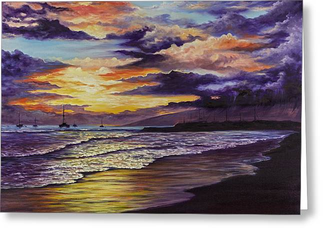 Lahaina Greeting Cards - Kamehameha Iki Park Sunset Greeting Card by Darice Machel McGuire