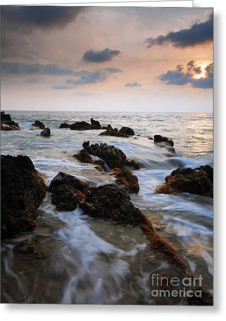 ; Maui Photographs Greeting Cards - Kameole Sunset Greeting Card by Mike  Dawson