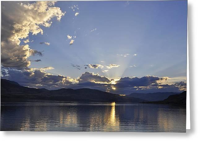 Sunset Reflecting In Water Greeting Cards - Kamloops Lake BC Greeting Card by Wendy Elliott