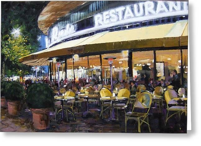 Kurfurstendamm Cafe Paintings Greeting Cards - Kampinski Ecke Greeting Card by Michael Swanson