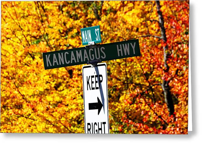 Foliage In White Mountains Greeting Cards - Kancamagus Autumn Foliage Keep Right  Greeting Card by Luke Moore