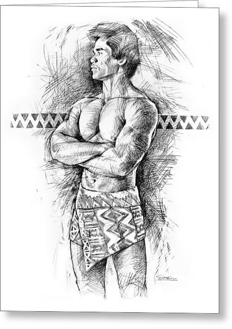 Figurative Drawing Drawings Greeting Cards - Kane O Hawaii Greeting Card by Douglas Simonson