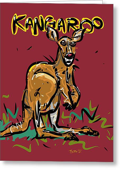 Kangaroo Drawings Greeting Cards - Kangaroo Greeting Card by Brett LaGue
