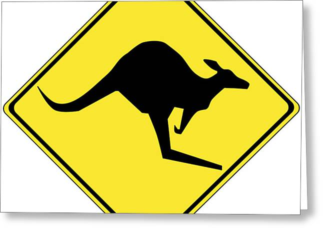 Kangaroo Greeting Cards - Kangaroo Crossing Sign Greeting Card by Marvin Blaine