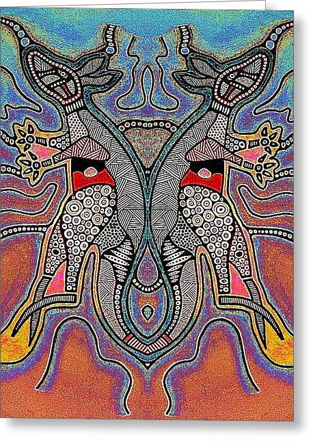 Kangaroo Drawings Greeting Cards - Aboriginal Kangaroo dreaming Greeting Card by Allan Mckenzie