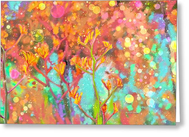 Bubbly Paintings Greeting Cards - Kangaroo Flower in Spring Bubbles Greeting Card by Angela A Stanton