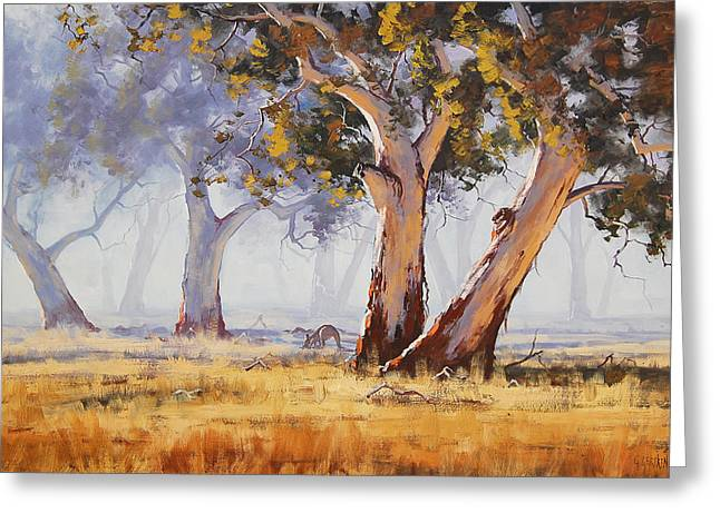 Australian Tree Greeting Cards - Kangaroo Grazing Greeting Card by Graham Gercken