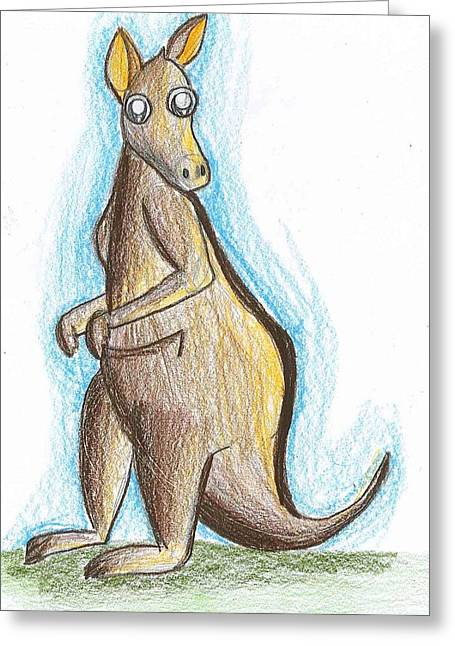Kangaroo Drawings Greeting Cards - Kangaroo Greeting Card by Raquel