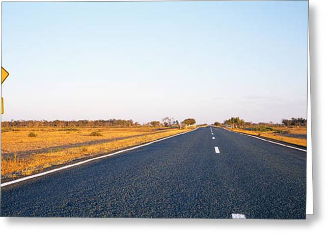 Convergence Greeting Cards - Kangaroo Road Warning Sign, Outback Greeting Card by Panoramic Images