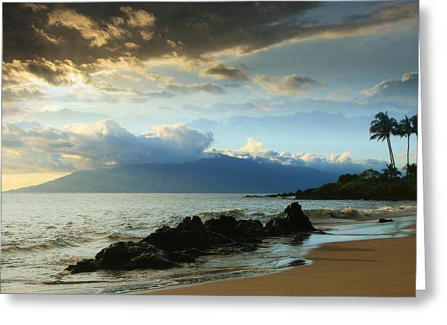 Sunset Posters Greeting Cards - Kanoelani Heavenly Mist Greeting Card by Sharon Mau