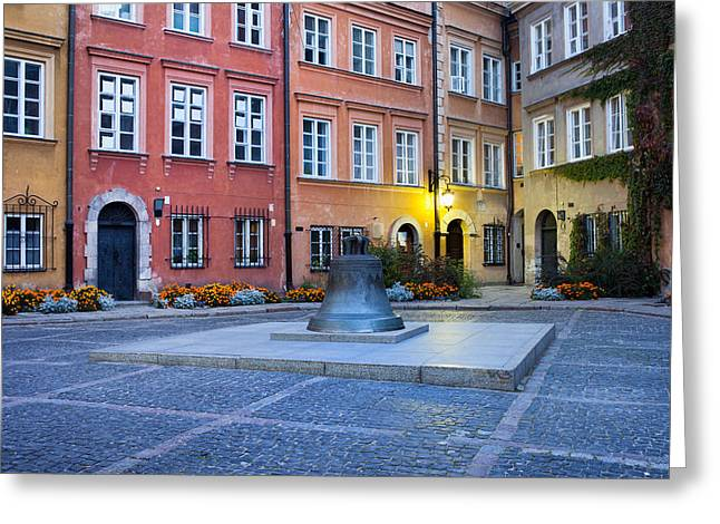 Polish Old Town Greeting Cards - Kanonia Square in the Old Town of Warsaw Greeting Card by Artur Bogacki