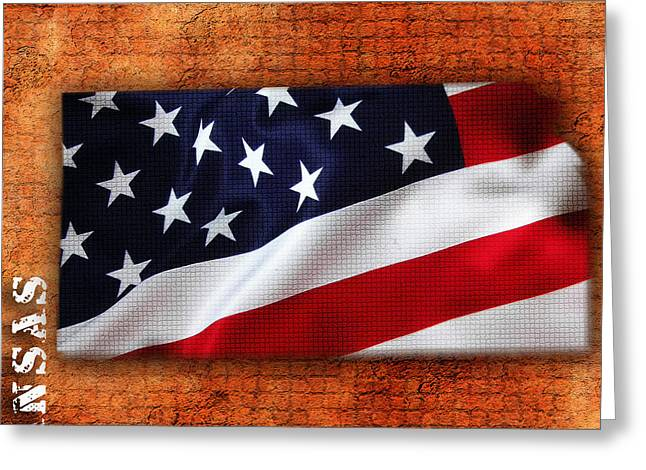 American Flag Art Greeting Cards - Kansas American Flag State Map Greeting Card by Marvin Blaine