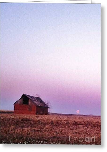 Moos Print Greeting Cards - Kansas Blood Moon Morning Greeting Card by PainterArtist FIN