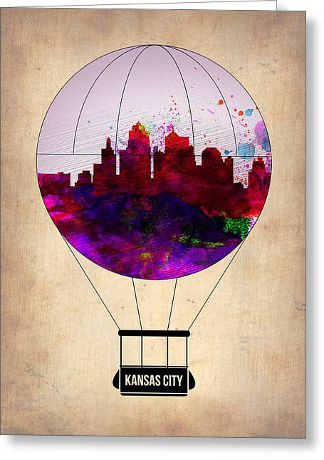 Kansas City Digital Art Greeting Cards - Kansas City Air Balloon Greeting Card by Naxart Studio