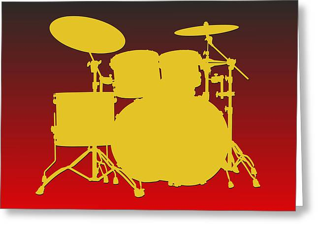 Drum Greeting Cards - Kansas City Chiefs Drum Set Greeting Card by Joe Hamilton
