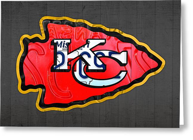 Team Mixed Media Greeting Cards - Kansas City Chiefs Football Team Retro Logo Missouri License Plate Art Greeting Card by Design Turnpike
