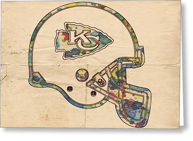 Kansas City Greeting Cards - Kansas City Chiefs Helmet Vintage Greeting Card by Florian Rodarte