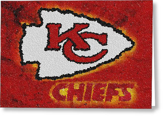 Win Greeting Cards - Kansas City Chiefs Greeting Card by Jack Zulli