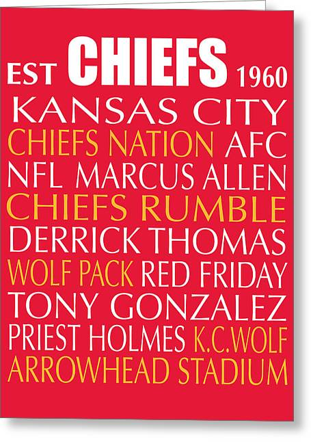 Football Words Greeting Cards - Kansas City Chiefs Greeting Card by Jaime Friedman