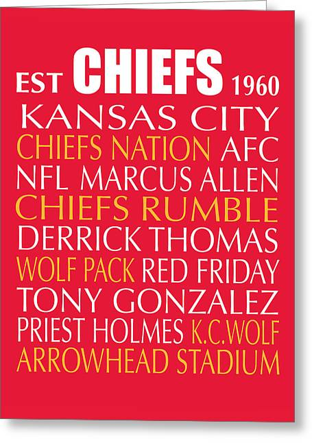 Tony Digital Greeting Cards - Kansas City Chiefs Greeting Card by Jaime Friedman