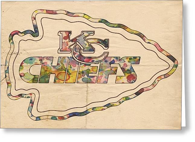 Kansas City Greeting Cards - Kansas City Chiefs Logo Art Greeting Card by Florian Rodarte
