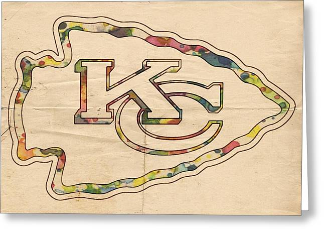 Kansas City Greeting Cards - Kansas City Chiefs Poster Vintage Greeting Card by Florian Rodarte