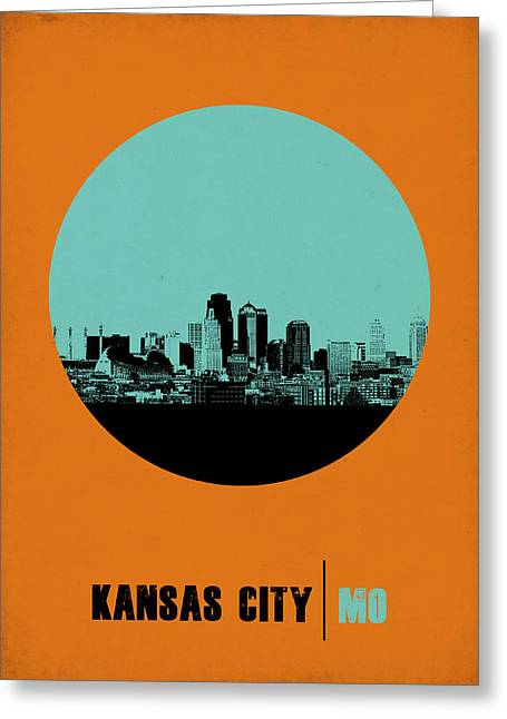 Downtown Digital Greeting Cards - Kansas City Circle Poster 1 Greeting Card by Naxart Studio