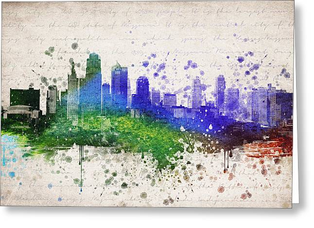 Kansas City Missouri Greeting Cards - Kansas City in Color Greeting Card by Aged Pixel
